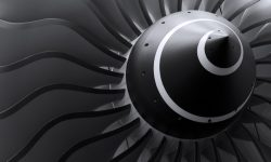 Turbine blades of turbo jet engine for passenger plane, aircraft concept, aviation and aerospace industry
