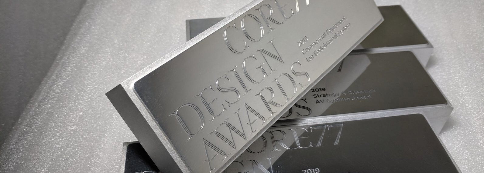 Precision machined trophies for Core77 Design Awards