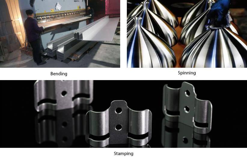 bending, stamping, Spinning, sheet metal fabrication methods